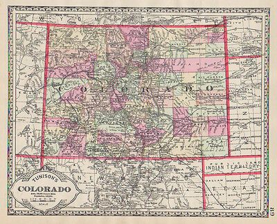 1886 Colorado HAND COLORING original ANTIQUE MAP authentic