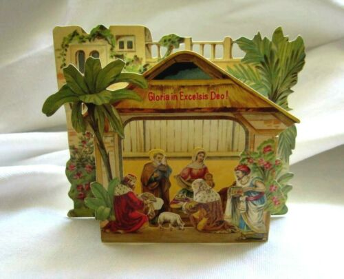 RARE StunningEmbossed Religious Christmas BethlehemPop-Up NATIVITY SCENE TABLEAU
