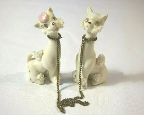 Vintage Ceramic Cats with Chain Spaghetti Hair Rhinestone Eyes - Japan Labels