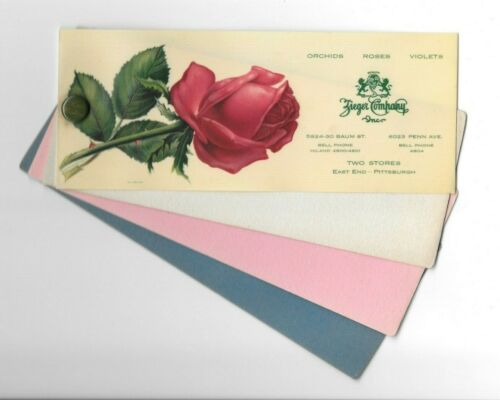 Vintage Celluloid Blotter ZIEGER FLORISTS Pittsburgh PA red rose