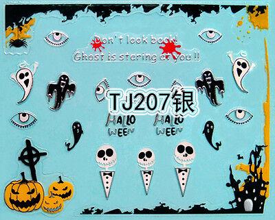 Halloween Silver Pumpkin Ghost Eyes Castle Skulls 3D Nail Art Sticker Decals