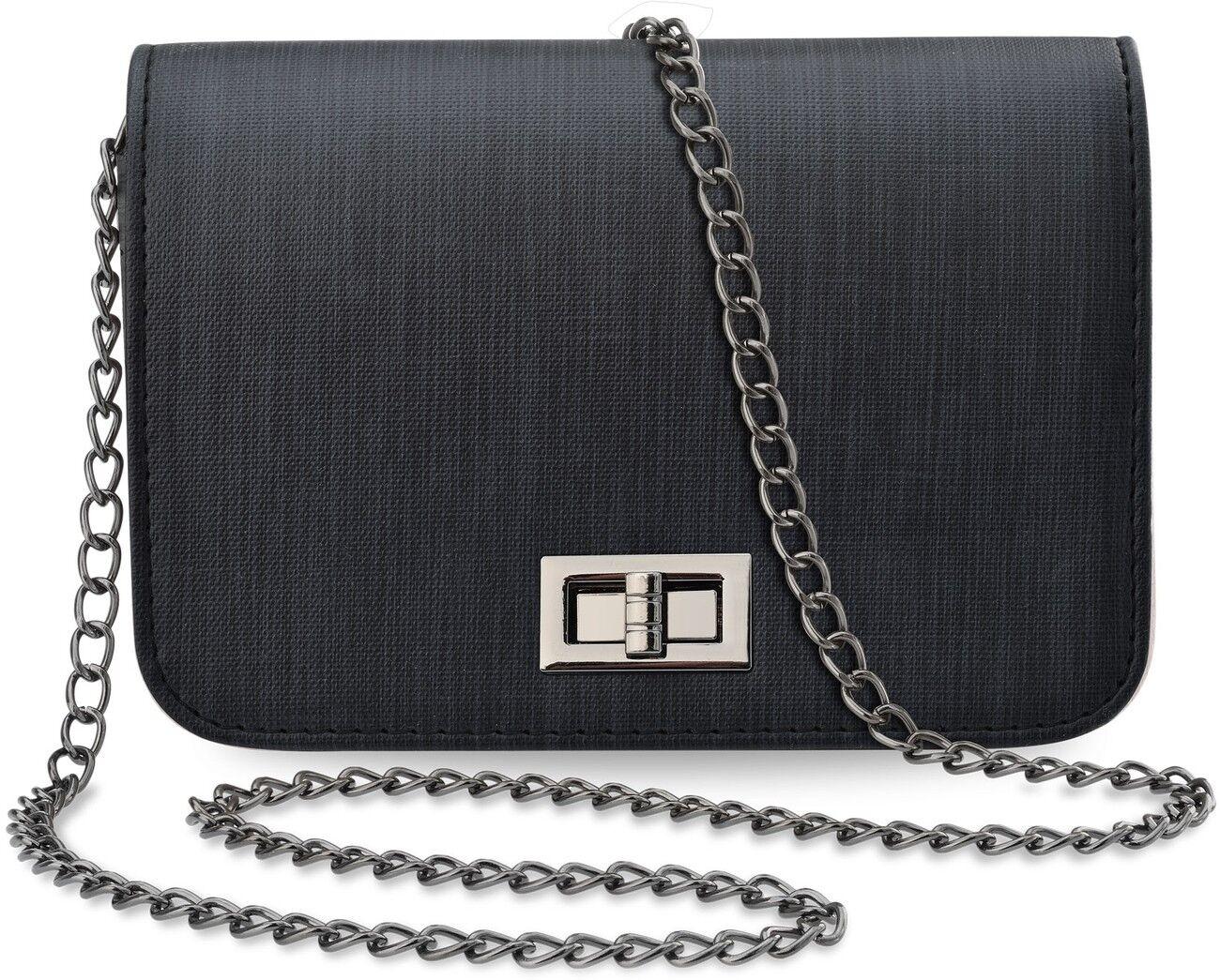 Kleine Schultertasche steife Ausführung Damentasche mit Kette Handtasche schwarz