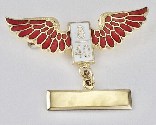 Vintage 10K Yellow Gold Red Enamel Wings 8/40 American Legion Pin