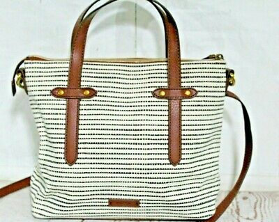 Fossil Felicity satchel Purse Handbags Black Stripe Cream Shoulder Bag