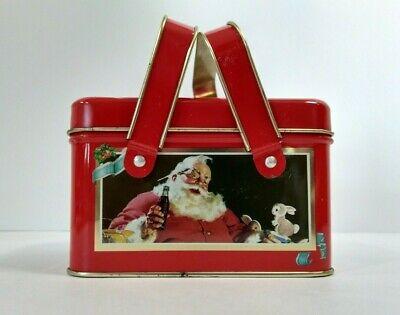 Vintage Coca-Cola Christmas Red Metal Tin Box with Santa, Jingle Bells & Bunny