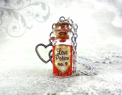 Love Potion Number 9 Magic Spell Mini Glass Bottle Necklace Halloween Charm