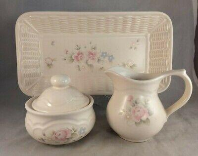 Pfaltzgraff Tea Rose Basketweave Bread Tray, Sugar Bowl, and Creamer Tea Rose Creamer