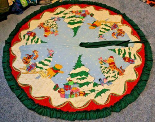 "DISNEY Winnie The Pooh Tigger Eeyore Piglet Christmas Tree Skirt 62"" Vintage HTF"