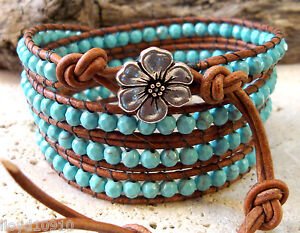 Genuine Turquoise 4mm Faceted Gemstone Handmade Beaded Leather Wrap Bracelet