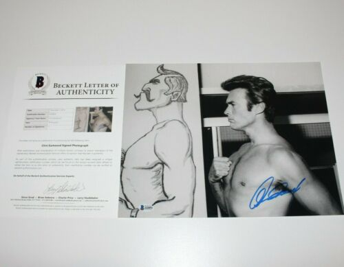 CLINT EASTWOOD SIGNED YOUNG SHIRTLESS B/W 11x14 PHOTO BECKETT COA BAS THE MULE