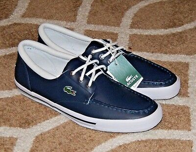 Lacoste Shakespeare Shoes Men's 12 Navy Blue White Leather Boat Deck Sail