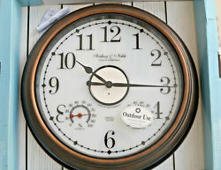 Sterling & Noble® Lighted Indoor/Outdoor Wall Clock/Weather Station in Bronze
