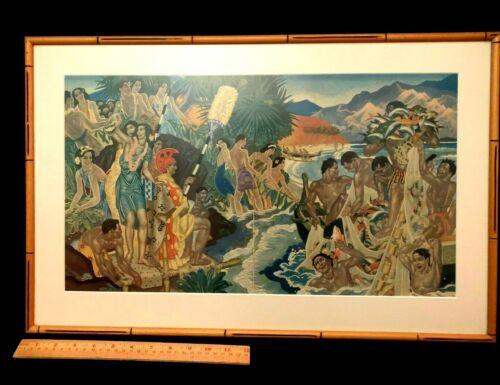 """Festival of the Sea"", original Eugene Francis Savage S.S. Lurene Menu framed"
