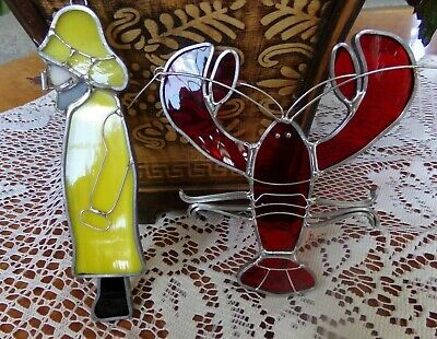 2 New Old Stock Stained Glass Sun Catchers Lobster & Sea Captain Made in USA