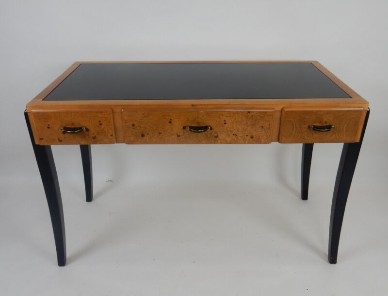 Mid century modern burl desk, console table by Lane furniture.