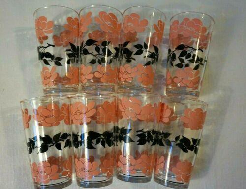 Vintage Hazel Atlas Drinking Glasses Pink & Black Flowers w Leaves - Lot of 8