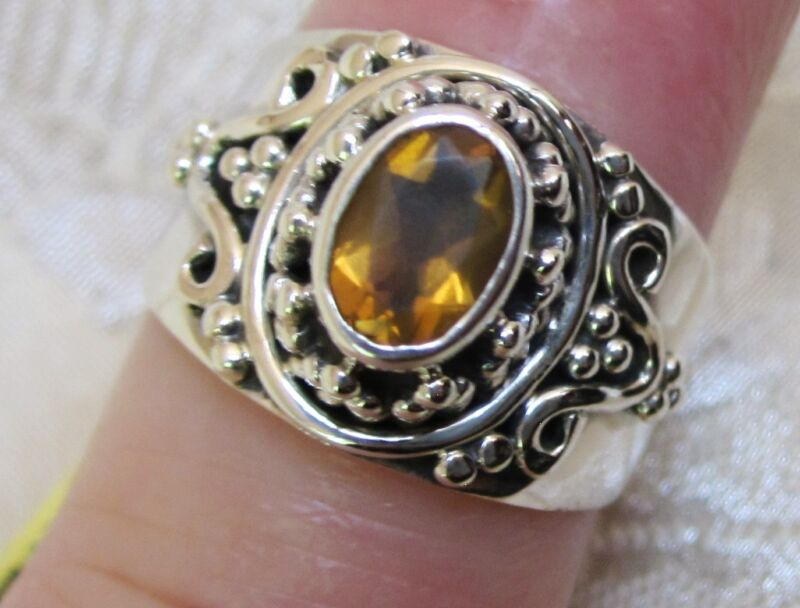 Fire Opal Ring in Sterling Silver sz 5.25
