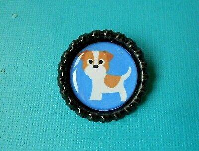 Jack Russell Dog Brooch Bottle Cap Badge Puppy Handmade Brown & White Terrier