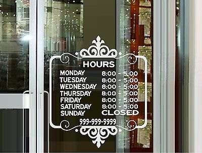 Custom Store Hours #2  - Wall Decal or Window