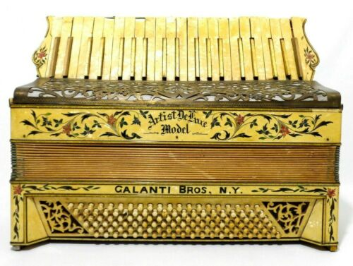 RARE GALANTI BROS NY VINT ARTIST DELUXE MODEL ACCORDION W/INLAID MOTHER OF PEARL