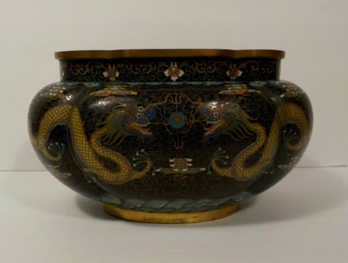 "19th C. Chinese Cloisonne on Bronze 5.5"" Tall Dragon Jardiniere, Meiji Period"