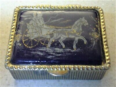 Horse Tile Box - Vintage Blue Porcelain Tile Horse Carriage metal Hinged Pill Snuff Box