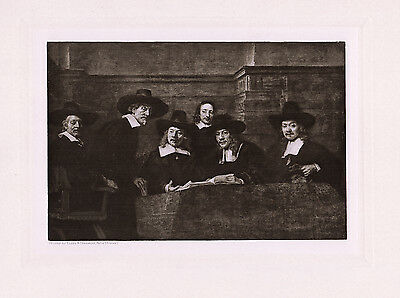 """Strong 1800s REMBRANDT Antique Print """"Syndics of the Drapers' Guild"""" FRAMED COA"""