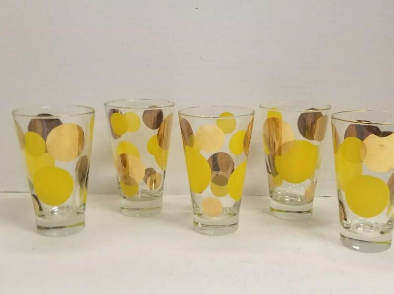 Vintage Retro Gold Yellow Big Dots Water Drink Glasses Mid Century Modern Swanky