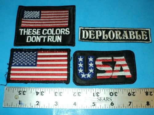 Lot of 4 Various Miscel. Patches ~ Trump Related ~ USA ~ U.S.A. ~ Deplorables FS
