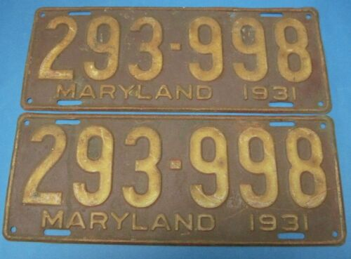 1931 Maryland license plates matched pair popular Model A year