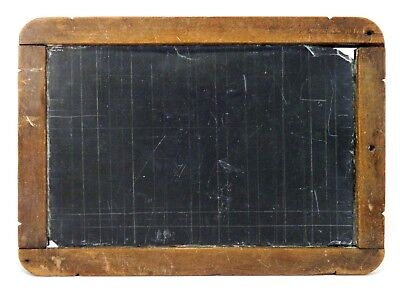 LATE 19TH-EARLY 20TH C VINT SMALL RULED CHARCOAL SLATE CHALKBOARD, W/PINE FRAME](Small Chalk Boards)