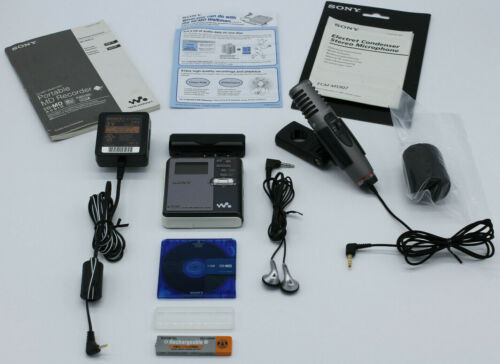 Sony MZ-RH910 Hi-MD Mini Disc Recorder Battery & A/C Adapter Mic Manuals Tested