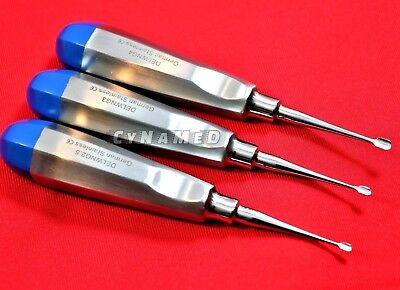 German 3 Pcs Veterinary Dental Extracting Wing Winged Tip Elevator 2.5mm 3mm 4mm