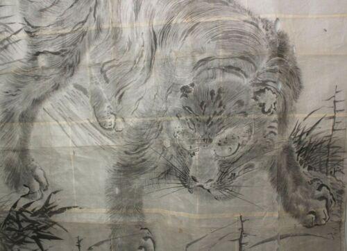 Huge and impressive Tiger Painting. Edo 18-19c HH48