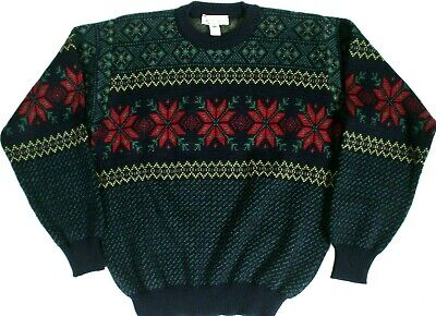 #83 VINTAGE LL BEAN IRELAND WOOL FAIR ISLE SNOWFLAKE CREWNECK SWEATER MENS SMALL