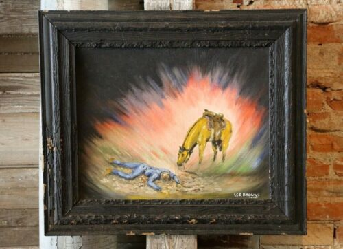 Western Cowboy with Horse Landscape Painting in Wood Frame Black cabin lodge