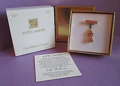 Pink Ribbon Items (Estee Lauder Vintage Pink Ribbon Charm Pink Rhinestone New in Box Item)
