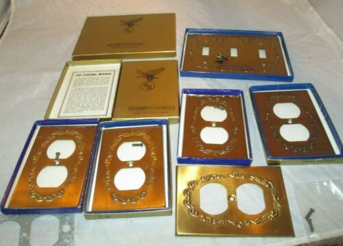 Vintage Brass Wall Outlet SWITCH Cover Plates 6 PCS. W BOX