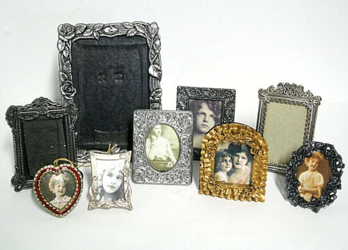 Lot of 9 Small Ornate Standing Picture Frames Pewter Metal Resin