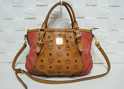 100% Authentic MCM Visetos Cognac Medium 2 Ways Shoulder Bag