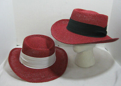 Straw Gambler Hat Red Fedora With Linen Band Western Cuban Choose Your Color -