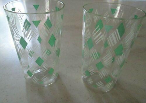 Vintage Swanky Swig Set of 2  Diamond Geometric Green Juice Glass