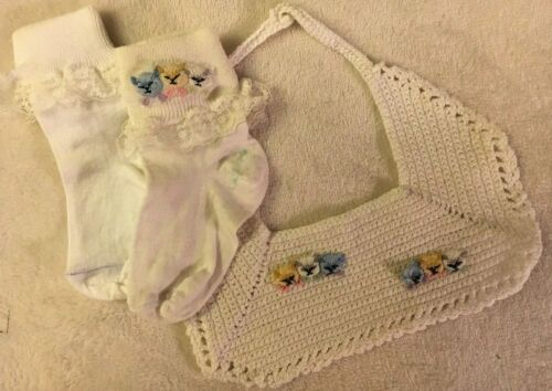 Vintage White Hand Crocheted Baby Bib & Cotton Socks w/ Hand Embroidered Cats