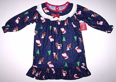 Nwt New Rudolph Red Nose Reindeer Christmas Flannel Nightgown Pajamas Cute Girl