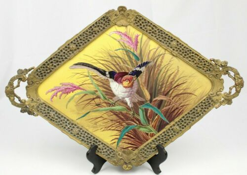 Antique French AESTHETIC MOVEMENT Bronze Mounted Porcelain JAPONISME Bird Tray