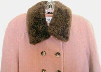 Vintage Valentino Pink Wool Car Coat_Sheared Nutria Collar_Italian 44_US Size 10