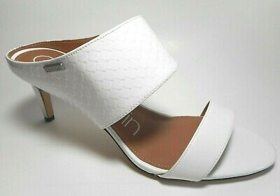 BRAND NEW CALVIN KLEIN Size 8.5M Platinum White Leather Heel Mule Sandal Shoes