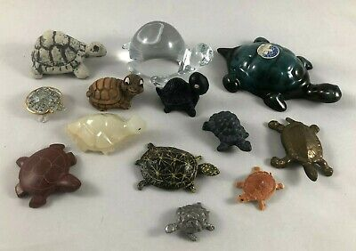 Lot of 13 Turtle Figurines ~ Blue Mountain Ceramic Pewter Stone Glass Turtles