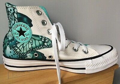 Converse 5 Butterfly High Tops Blue White Monarch Wedding Dance Hightop Canvas](Monarch Butterfly Shoes)