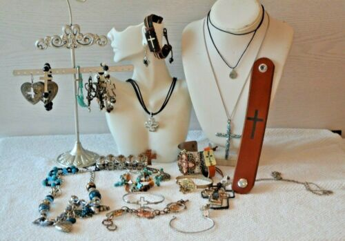 Lot Of Vintage To Now Southwestern Style Christian Theme Jewelry.  (9.2Q)